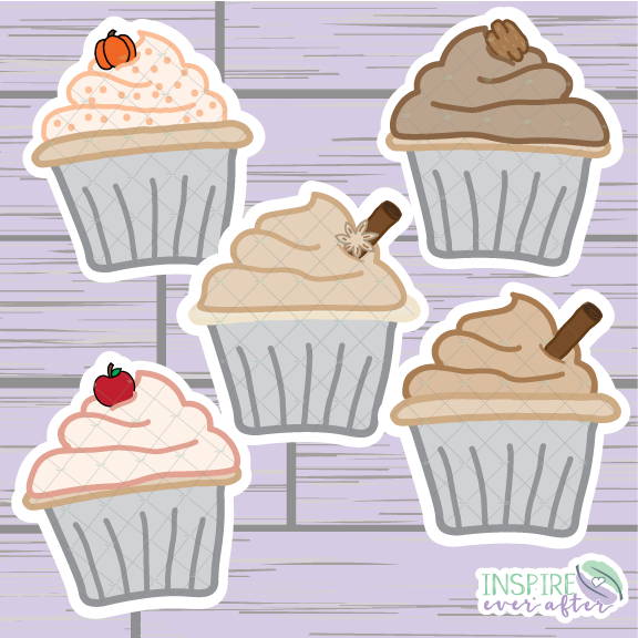 Fall Cupcake Die Cut ~ Pumpkin Spice, Pecan, Apple, Cinnamon OR Chai ~ Hand Drawn Fall Planner Accessories