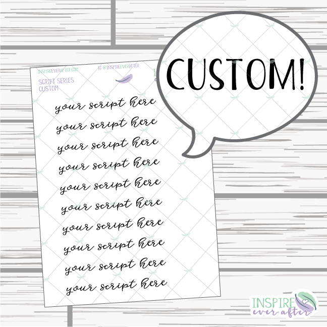 Custom Script Series ~ You Choose the word or phrase ~ Planner Stickers