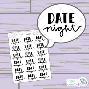 Date Night ~ Hand Drawn Petite Collection ~ Planner Stickers