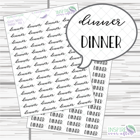 Dinner ~ Script OR Print ~ Script Series ~ Planner Stickers