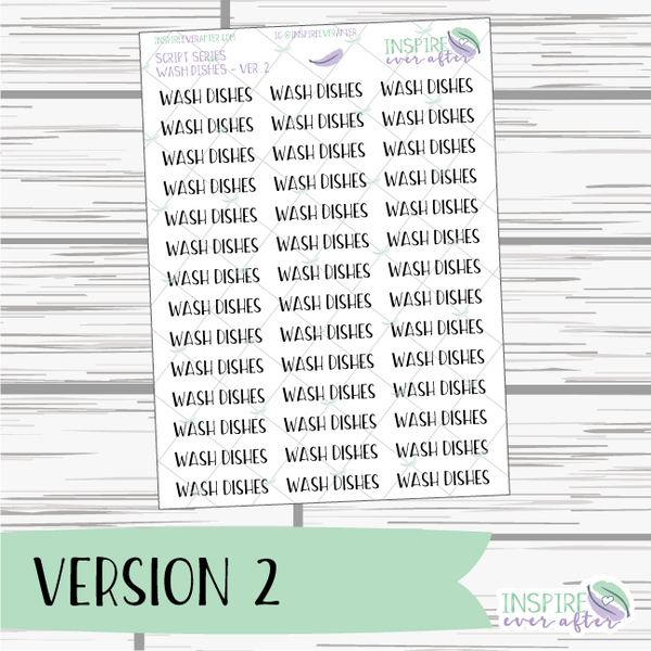 Wash Dishes ~ Script OR Print ~ Script Series ~ Planner Stickers