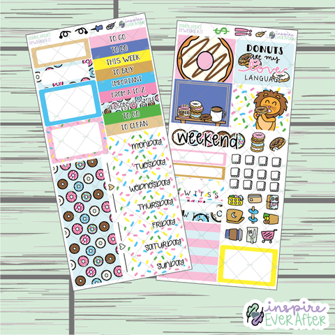 Donut Addict PPWeeks Weekly Kit ~ Hand Drawn Foodie Kit ~ Functional Planner Stickers