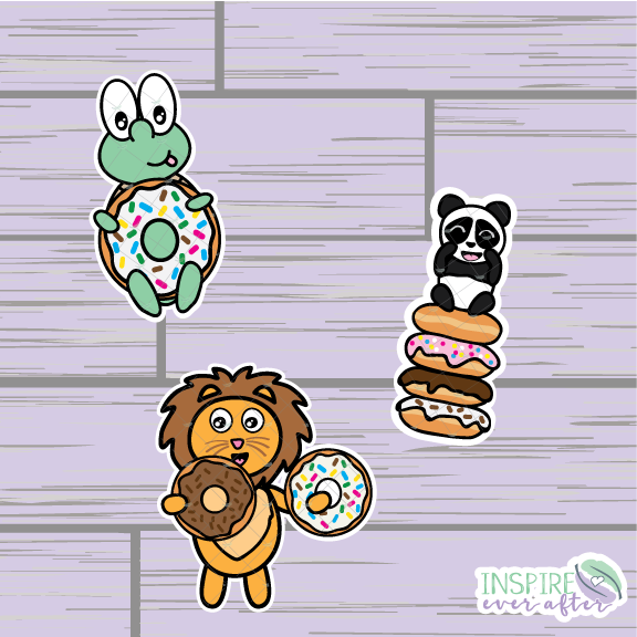 Donut Characters Die Cut ~ Zion, Stevie OR Theo ~ Hand Drawn Planner Accessories
