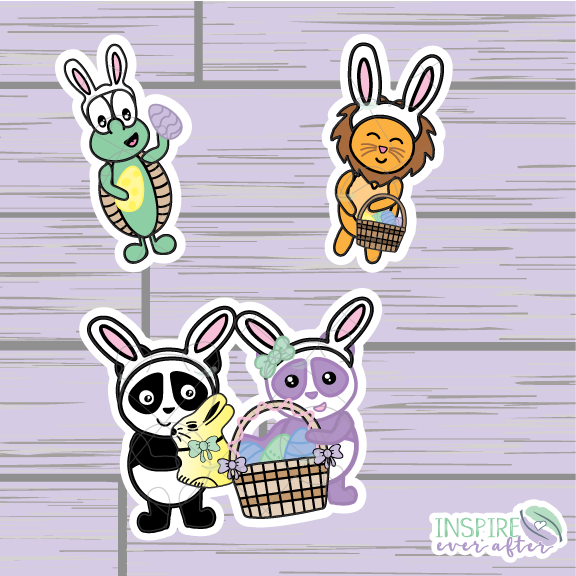 Easter Egg Hunt Characters Die Cut ~ Zion, Stevie & Lila OR Theo ~ Hand Drawn Planner Accessories