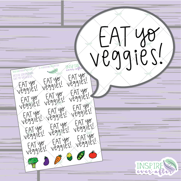 Eat Yo Veggies ~ Hand Drawn Food Icons ~ Petite Collection ~ Planner Stickers