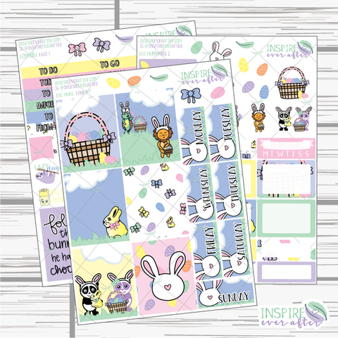 Egg Hunt ~ Hand Drawn Slim Weekly Kit ~ Planner Stickers