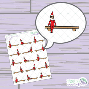 Elf Shelf ~ Hand Drawn Holiday Petite Collection ~ Planner Stickers