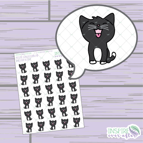 Excited Kitty ~ Hand Drawn Petite Collection ~ Planner Stickers