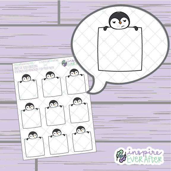 Exhausted Penguin Top Peek Box ~ Hand Drawn Animal Doodles ~ Petite Collection ~ Planner Stickers