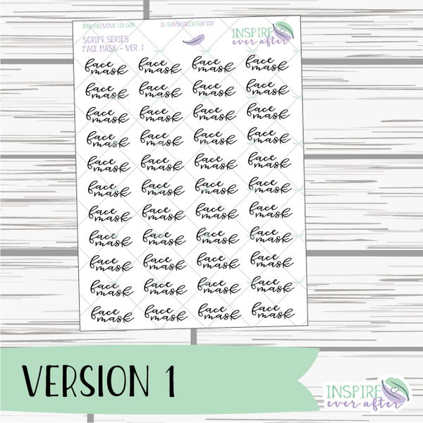 Face Mask ~ Script OR Print ~ Script Series ~ Planner Stickers