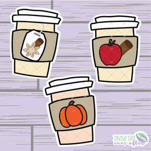 Fall Beverage Die Cut ~ Pumpkin Spice Latte, Chai Tea, OR Apple Cider ~ Hand Drawn Planner Accessories