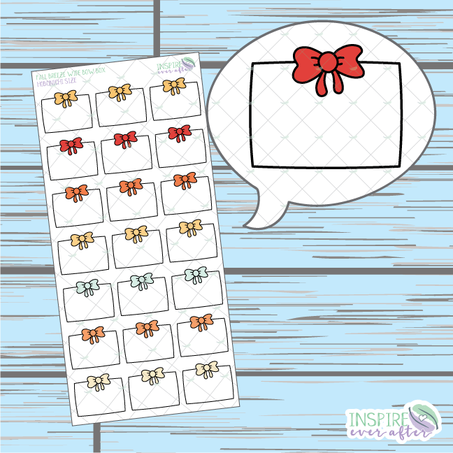 Fall Breeze Wide Bow Box Doodle ~ Hand Drawn Hobonichi Functionals ~ Planner Stickers