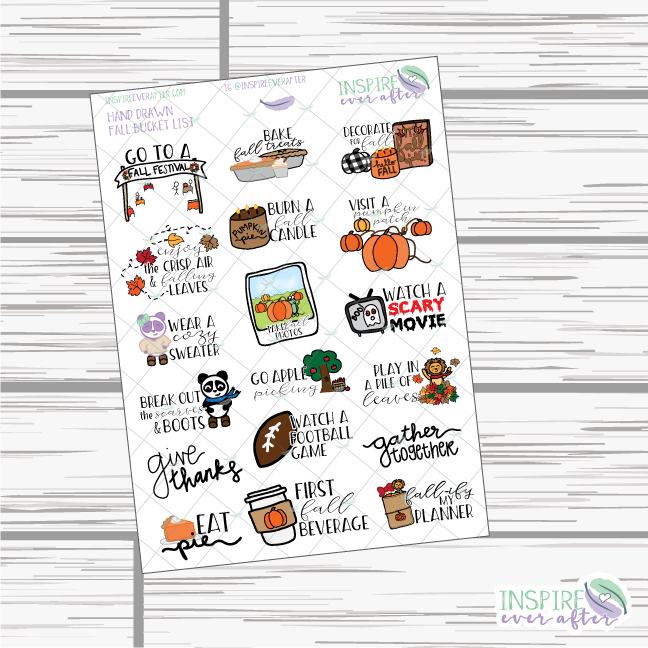 Fall Bucket List ~ Hand Drawn Icons ~ Planner Stickers