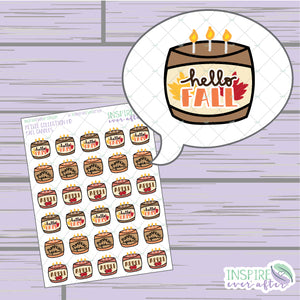 Fall Candles ~ Hand Drawn Petite Collection ~ Planner Stickers