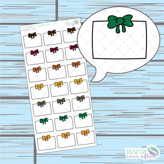 Falling Leaves Wide Bow Box Doodle ~ Hand Drawn Hobonichi Functionals ~ Planner Stickers