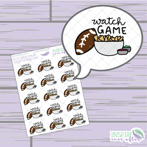Watch Football Game ~ Hand Drawn Petite Collection ~ Planner Stickers