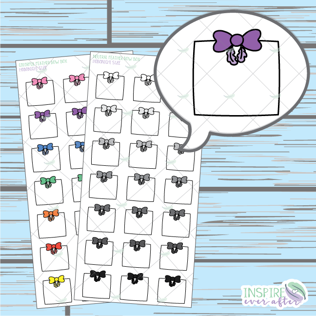 Feather Bow Box Doodle ~ Colorful OR Neutral ~ Hand Drawn Hobonichi Functionals ~ Planner Stickers