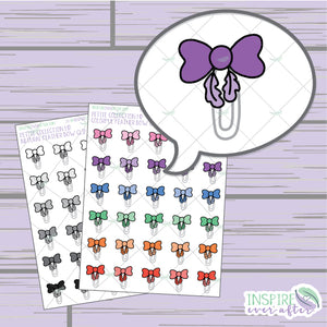 Feather Bow Clips ~ Colorful OR Neutral ~ Hand Drawn Petite Collection ~ Planner Stickers