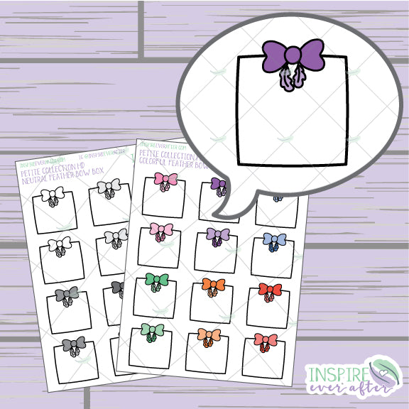 Feather Bow Boxes ~ Colorful OR Neutral ~ Hand Drawn Petite Collection ~ Planner Stickers