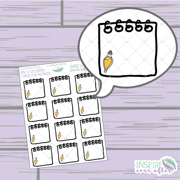 Liquid Luck Notebook ~ Hand Drawn Petite Collection ~ Planner Stickers