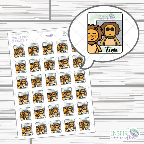 Go Figures Zion the Lion ~ Hand Drawn Icons ~ Planner Stickers
