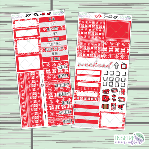 Fair Isle PPWeeks Weekly Kit ~ Hand Drawn Holiday Functional Planner Stickers