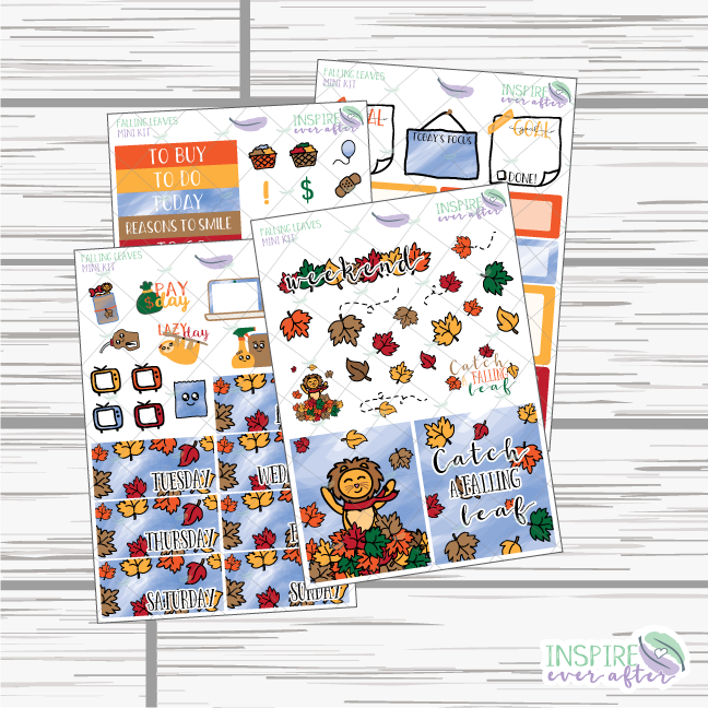 Falling Leaves Mini Weekly Kit ~ Planner Stickers