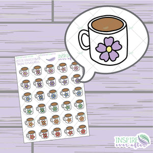 Spring Flower Coffee/Tea Mugs ~ Hand Drawn Petite Collection ~ Planner Stickers