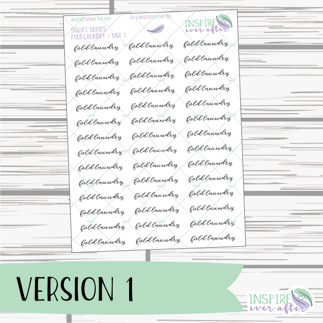 Fold Laundry ~ Script OR Print ~ Script Series ~ Planner Stickers