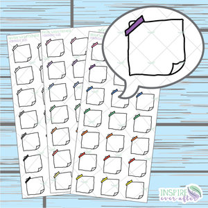 Folded NoteDoodle ~ Pastel, Bright OR Neutral ~ Hand Drawn Hobonichi Functionals ~ Planner Stickers