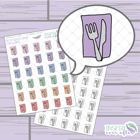 Fork and Knife Icon ~ Colorful OR Neutral ~ Hand Drawn Petite Collection ~ Planner Stickers
