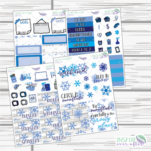 Falling Snowflake Mini Weekly Kit ~ Planner Stickers