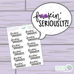F**kin' Seriously!? ~ Hand Drawn Sassy Series ~ Petite Collection ~ Planner Stickers