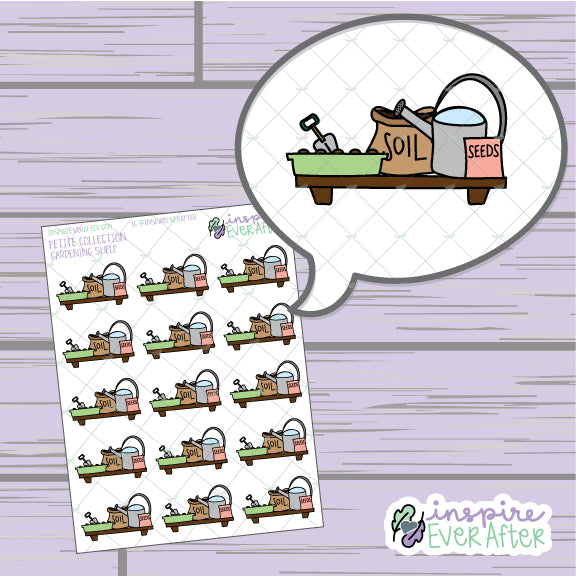 Gardening Shelf ~ Hand Drawn Plant Care ~ Petite Collection ~ Planner Stickers