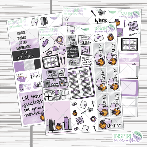 Girl Boss Flow ~ Hand Drawn Slim Weekly Kit ~ Planner Stickers