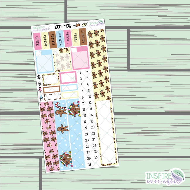 Gingerbread PPWeeks Monthly Kit ~ Hand Drawn Functional Planner Stickers