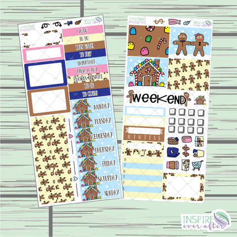 Gingerbread PPWeeks Weekly Kit ~ Hand Drawn Functional Planner Stickers