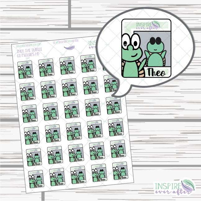 Go Figures Theo the Turtle ~ Hand Drawn Icons ~ Planner Stickers