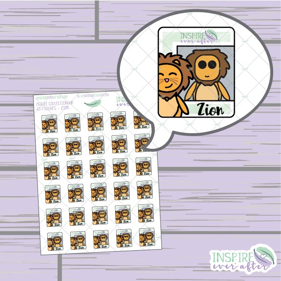 Go Figures Zion the Lion ~ Hand Drawn Petite Collection Icons ~ Planner Stickers