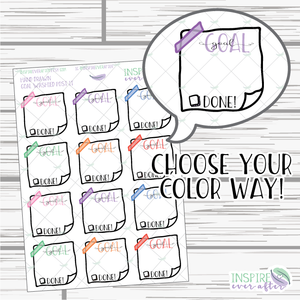Goal Washi Note ~ Choose Your Color Way ~ Hand Drawn Icon ~ Planner Stickers