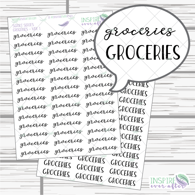Groceries ~ Script OR Print ~ Script Series ~ Planner Stickers