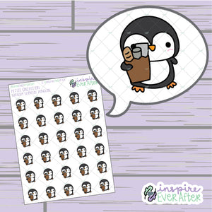 Grocery Shoppin' Penguin ~ Hand Drawn Animal Doodles ~ Petite Collection ~ Planner Stickers
