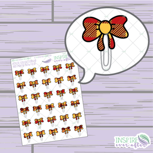 Magical Red House Bow Clip ~ Hand Drawn Petite Collection ~ Planner Stickers