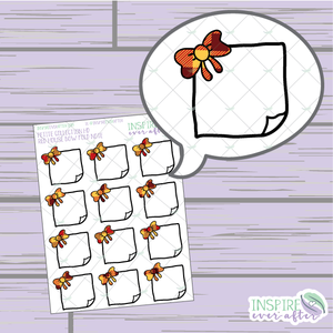 Magical Red House Bow Folded Note ~ Hand Drawn Petite Collection ~ Planner Stickers