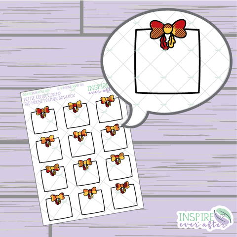 Magical Red House Feather Bow Box ~ Hand Drawn Petite Collection ~ Planner Stickers