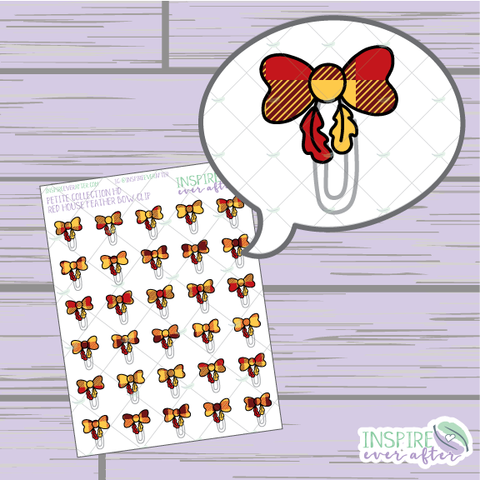 Magical Red House Feather Bow Clip ~ Hand Drawn Petite Collection ~ Planner Stickers
