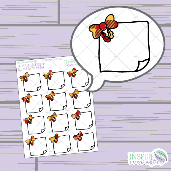 Magical Red House Feather Bow Folded Note ~ Hand Drawn Petite Collection ~ Planner Stickers