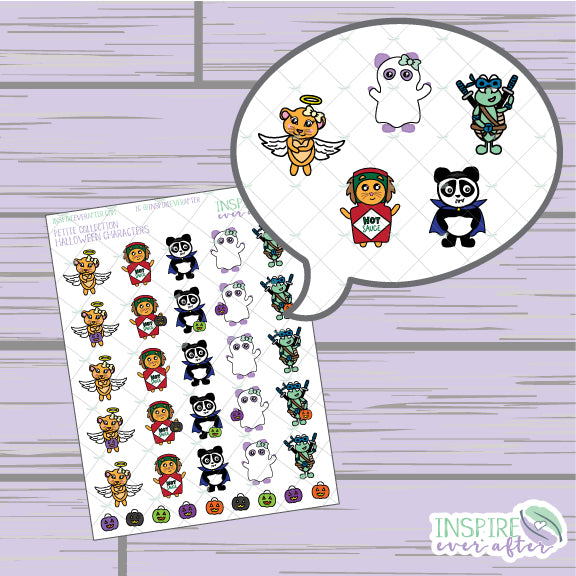 Halloween Characters, Vol 2 ~ Hand Drawn Zion & Luna the Lions, Theo the Turtle, Stevie & Lila the Pandas ~ Hand Drawn Characters ~ Petite Collection ~ Planner Stickers