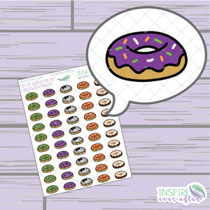 Halloween Donuts ~ Hand Drawn Foodie Icons ~ Petite Collection ~ Planner Stickers