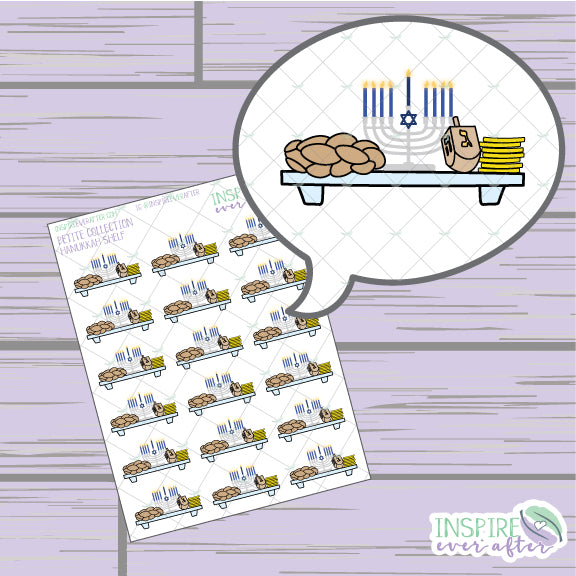 Hanukkah Shelf ~ Hand Drawn Holiday Icons ~ Petite Collection ~ Planner Stickers